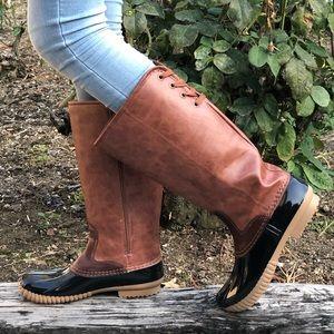 Vegan Leather tan and Black Tall Duck Rain Boots